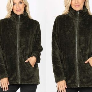 Olive Green Faux Fur Soft Zip Up Teddy Jacket
